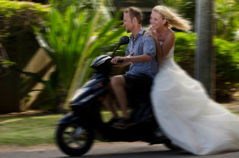 Bride on a scooter
